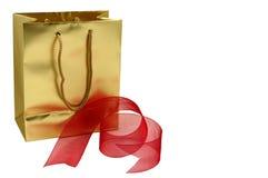 Sacchetto del regalo dell'oro Fotografia Stock