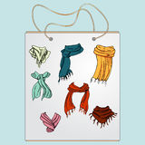 Sacchetto della spesa, borsa del regalo con l'immagine delle cose alla moda Fotografia Stock