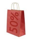Sacchetto della spesa con il testo di 50% Fotografia Stock