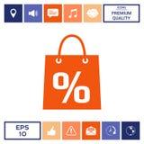 Sacchetto della spesa con la vendita, la percentuale, simbolo di sconto Fotografia Stock Libera da Diritti