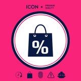 Sacchetto della spesa con la vendita, la percentuale, simbolo di sconto Immagine Stock