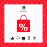 Sacchetto della spesa con la vendita, la percentuale, simbolo di sconto Fotografia Stock