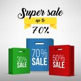 Sacchetto della spesa di carta con la promozione di vendita Fotografia Stock