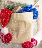 Sacchetto della spesa di Natale in mani delle donne Fotografia Stock