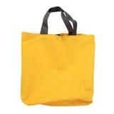 Sacchetto della spesa giallo della tela isolato su bianco Fotografie Stock