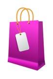 Sacchetto della spesa rosa con le maniglie di carta Fotografia Stock Libera da Diritti