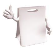 Sacchetto di acquisto bianco in bianco Fotografie Stock Libere da Diritti