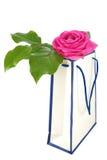 Sacchetto di acquisto con il fiore Immagini Stock