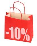 Sacchetto di acquisto con il segno -10% Immagini Stock