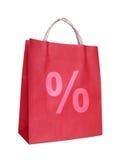 Sacchetto di acquisto con il segno di percentuali Fotografia Stock Libera da Diritti