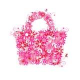 Sacchetto di acquisto floreale, vendita di estate. Fotografia Stock Libera da Diritti
