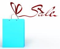 Sacchetto di acquisto legato con un nastro sotto forma di Th Immagine Stock