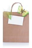 Sacchetto di acquisto marrone decorativo Immagine Stock