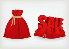 Sacchetto di colore rosso del Babbo Natale illustrazione di stock