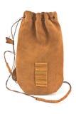 Sacchetto di cuoio del sacchetto legato con stringa di cuoio Fotografia Stock Libera da Diritti