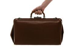 Sacchetto di cuoio dell'annata del Brown isolato su bianco Fotografie Stock