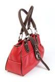 Sacchetto di cuoio rosso Fotografia Stock Libera da Diritti
