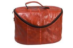 Sacchetto di cuoio rosso delle estetiche Fotografia Stock