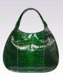 Sacchetto di cuoio verde della donna Immagini Stock Libere da Diritti