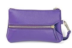 Sacchetto di cuoio viola della donna Fotografie Stock