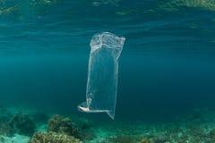 Sacchetto di plastica che va alla deriva nell'oceano Pacifico tropicale fotografia stock