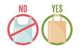 Sacchetto di plastica e borsa di eco nello stile piano royalty illustrazione gratis