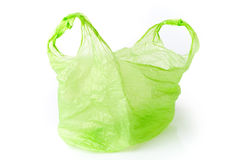 Sacchetto di plastica verde isolato Fotografie Stock