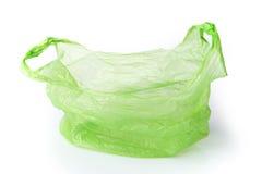 Sacchetto di plastica verde isolato Fotografie Stock Libere da Diritti