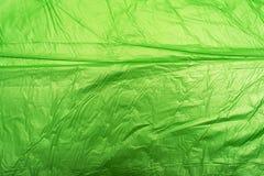 Sacchetto di plastica verde sgualcito Fotografia Stock