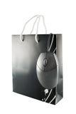 Sacchetto e mouse di acquisto Fotografia Stock Libera da Diritti