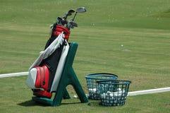 Sacchetto e randelli di golf Fotografie Stock