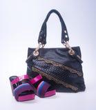 sacchetto le donne insaccano ed adattano la scarpa su un fondo Immagini Stock