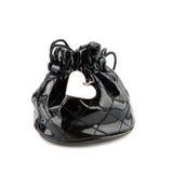 Sacchetto nero con il pendente del cuore Immagine Stock