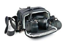 Sacchetto nero per la macchina fotografica Fotografie Stock Libere da Diritti