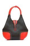Sacchetto rosso della donna isolato sul bianco Fotografie Stock