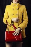 Sacchetto rosso e cappotto giallo di modo fotografia stock libera da diritti