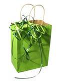 Sacchetto verde del regalo Immagini Stock