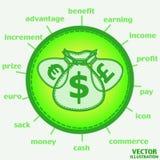 Sacchi con le icone dei soldi Vettore Immagine Stock Libera da Diritti