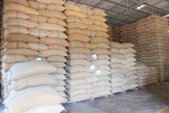 Sacchi della canapa che contengono riso Immagine Stock Libera da Diritti