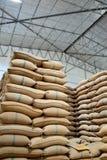 Sacchi della canapa che contengono riso Fotografie Stock Libere da Diritti