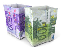 Sacchi di carta cento cinquecento euro Immagine Stock Libera da Diritti