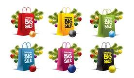 Sacchi di carta di Natale su bianco Vettore Isolato colorato Fotografie Stock