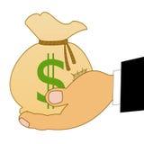 Sacco con i dollari di un segno su una mano Immagini Stock Libere da Diritti