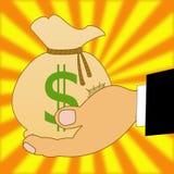 Sacco con i dollari di un segno su una mano, illustrazione Fotografia Stock Libera da Diritti