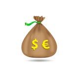 Sacco con i dollari e gli euro Borsa con soldi Su una priorità bassa bianca Illustrazione di vettore Fotografia Stock Libera da Diritti