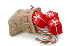 Sacco con i regali di Natale Immagini Stock