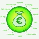 Sacco con l'euro icona Fotografia Stock Libera da Diritti