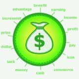 Sacco con l'icona del dollaro Fotografie Stock