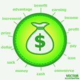 Sacco con l'icona del dollaro Vettore Immagine Stock