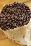 Sacco dei chicchi di caffè Fotografia Stock